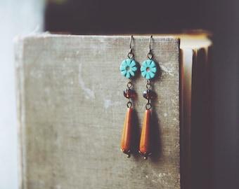 teal and brown floral teardrop earrings