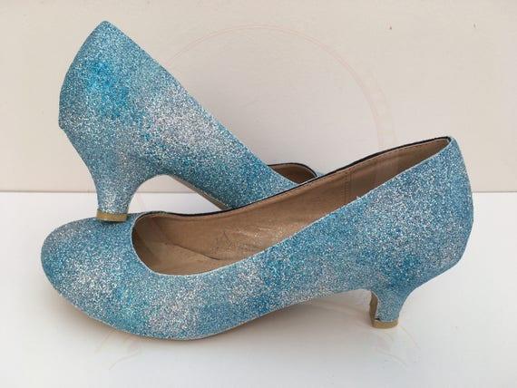 Wedding Kitten Heels: Summer Sky Glitter Kitten Heels Blue Sky Clouds Bridal
