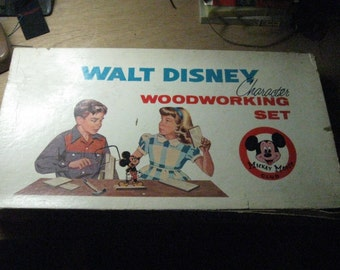 Vintage 60's Walt Disney Character Woodworking Set in Box