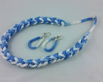 Necklace + Earrings: shades of blue and white; braided necklace, geek jewelry
