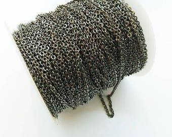 3 yards, 9 feet, Brass Chain, 2.5mm cable chain, Gunmetal, soldered links
