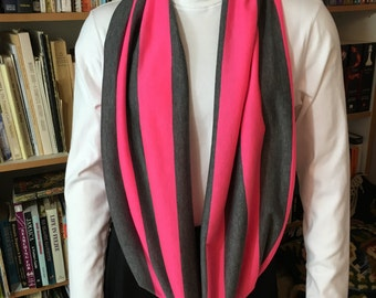 Neon Pink and Charcoal Stripe Jersey Infinity, Loop, Circle Scarf, Circle Scarf