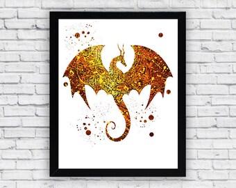 Dragon Watercolor print, Dragon Printable Wall Art, Dragon wall decor, Dragon poster