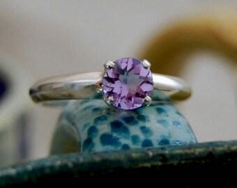 Ali- Amethyst gemstone ring, amethyst engagement ring, amethyst solitaire ring, amethyst wedding ring, February birthstone ring, silver ring