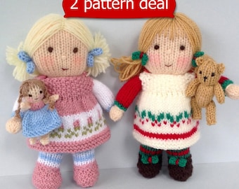 Dolly Rose and Holly Berry with tiny doll and teddy - knitting patterns - Pdf INSTANT DOWNLOAD