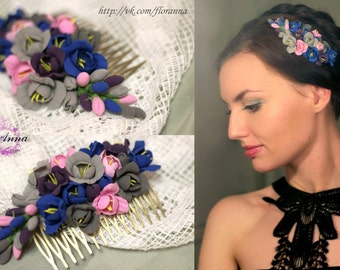 purple comb, flower comb, wedding stuff, bride comb, fresia corsage, bridesmaids comb, hair accessories, pink headband, rose comb, pink