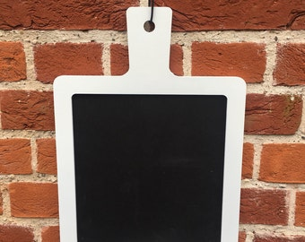White Hanging Chalkboard includes a Heart Shaped Cleaning Block, 27cm x 40cm.