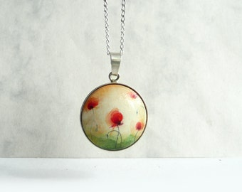 Hand Painted Poppies, 925 Sterling Silver Pendant Necklace, Poppy Charm Bezel, Miniature Painting Jewelry, Handcrafted