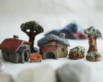 Toy set of tiny houses and trees