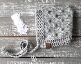 Bobble Pixie Bonnet [] Knit Pixie Bonnet [] Pixie Hat [] Knit Bonnet []  Gnome Hat