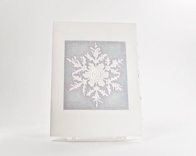 Matterhorn Snowflake Holiday Card. Christmas card Letterpress. Single card. Season's Greetings inside.