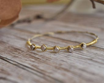 Guitar String Bangle Bracelet in Silver and Gold / Guitar String Bracelet / Gold and Silver Bracelet
