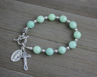 Sterling Silver and Jade Rosary Bracelet