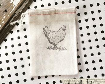 10 chicken hand stamped cotton bag - 3x5 cloth party bag - Chicken Bag - Farm Chicken bag - Farmhouse bag - Happy Chicken - Fresh Eggs