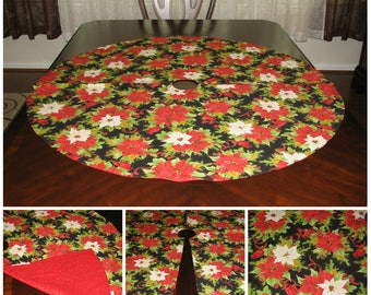 Xmas tree skirt Gold tree skirt Red tree skirt Christmas tree skirt Poinsettia tree skirt Christmas decoration Xmas decor