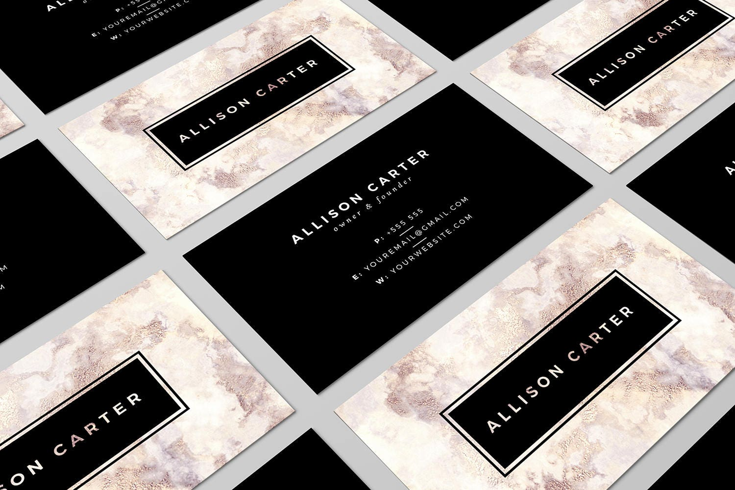 Marble Business Card Design Black Business Card Luxurious