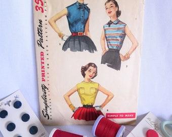 50s Pattern, Top Pattern, Sleeveless Top Pattern, Vintage Pattern, 50s Top Pattern, Simplicity, 1388, 50s Shirt, 50s Top, 50s, Pattern