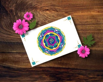 Watercolor mandala on paper ideal as gift fo her; one of a kind painting with OM symbol for you inner well-being.