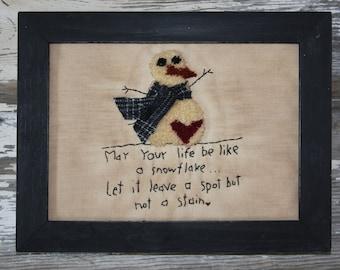 Pattern, Primitive, Needle Punch, Snowman, Stitchery, Snowflake, Snowman, Wool Applique, Heart, Leave Your Mark, Carrot, Scarf