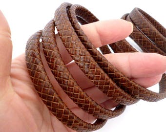 Rigid thickness Brown braided leather cord_RB001247/540_ Leather _ Flat Braided Brown_ of 50 cm / 1,64 ft
