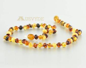 Baltic amber baroque necklace, Baroque amber, Multicolor amber, Amber necklace for adults, Baroque necklace, 7715