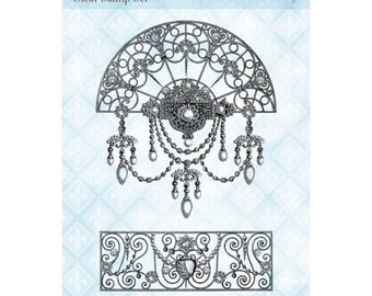 """New! Blue Fern Studios Clear Stamps Set - Jeweled Accents - 4""""x6"""" - Mixed Media Background Stamp / Fancy Light"""