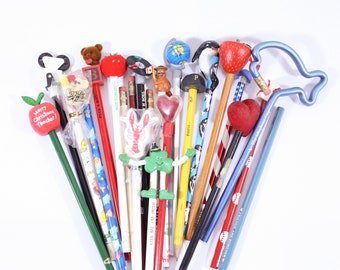 Vintage Stationary COOL Lot of Pencil Toppers Unsharpened, 90s Pencils, Vintage Stationery, Pencil Topper, Advertising Pencils, Pennsylvania
