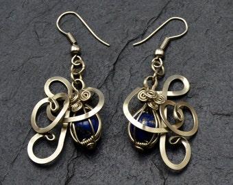 Lapis Lazuli Dangle Earrings, Wire Wrap Earrings, Blue Earrings, Navy Earrings, Lapis Earrings, Silver Wire Earrings, Gemstone Earrings