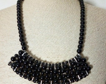 Boho black Agate natural stone bib necklace