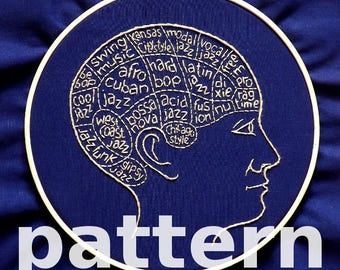 Jazz brain modern hand embroidery pattern - instant digital download PDF in english and spanish - jazz styles phrenology modern embroidery