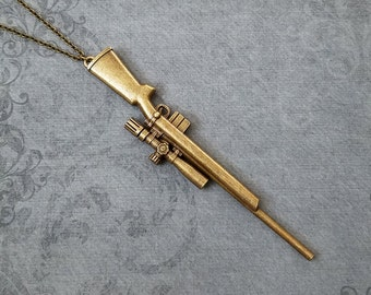 Rifle Necklace VERY LARGE Gun Necklace Sniper Rifle Jewelry Gun Charm Necklace Rifle Pendant Necklace Brass Necklace Bronze Necklace Gift