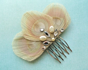 ISABEL Ivory Peacock Feather with Gold and Crystal Hair Comb
