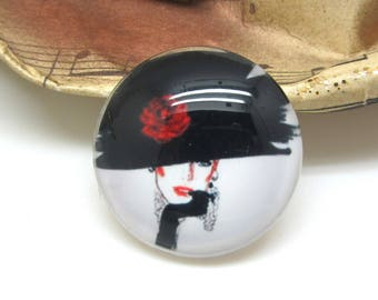 2 cabochons glass female Fatale black and white 14 mm - 14 mm