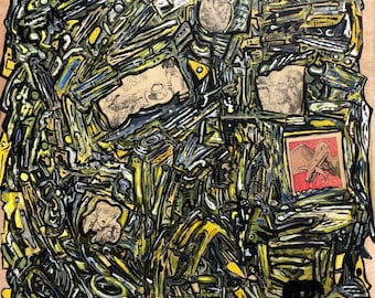 Original Abstract Painting On Recycled Wood Panel Mixed Media Graffiti Style (British Female Artist)