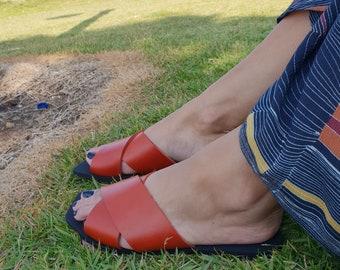 Leather Slides, Women's Sandals, Leather Sandals, Orange Sandals, Flat Sandals, Women's Shoes, Slip On Sandals, Flat Mules, Open Toe Sandals