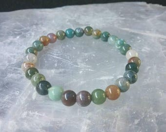 Agate 6mm beaded Gemstone Bracelet. Protection