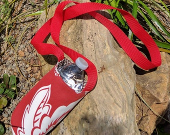 Crossbody water tote animal print bottle carrier, reusable water sling, reversible bag travel water bottle sling, hiking water carrier, long