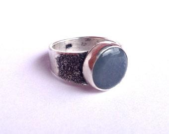 Men's Silver Ring, Men's Gemstone Ring, Wide Band Gemstone Ring, Men's Stone Ring, Blue Jade, Jadeite, Jade Ring, Men's Jade Ring