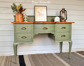 Vintage Provincial Olive Green Desk or Dresser with Timber Top