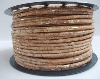 Gold/natural portuguese cork,cork cord 3mm(1 Meter)
