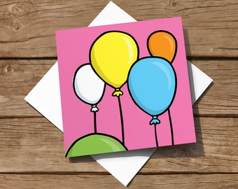 Colourful greeting card with hand-drawn balloons – for birthday, congratulations or other celebration