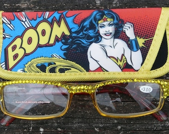 Custom Made Wonder Woman Reading Glasses +3.00 ~ Embellished with Yellow Crystals ~ Includes Matching Soft Case