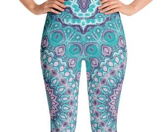 Funky Leggings High Waist Yoga Pants, Blue and Purple Mandala Leggings, Festival Rave Wear, Clubwear