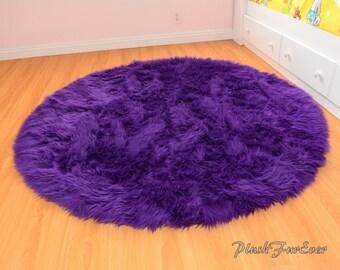 Royal Purple Shaggy Round Area Rug Throw Decor Luxury Faux Fur Shag Carpet Rug Nursery Round Rug Plush Kids Play Rug Flokati Rugs