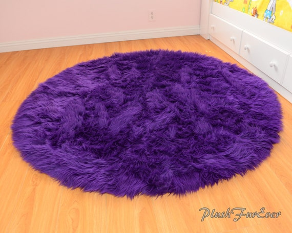 Royal Purple Shaggy Round Area Rug Throw Decor Luxury Faux Fur