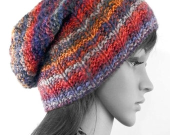 Large knitted slouchy beanie hat, oversized multicolor beanie, chunky knit slouchy hat, winter slouchy hat. slouchy beanie, striped beanie