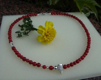Necklace with coral and sparkling 925 Silver!