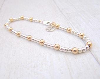 Friendship bracelet, Gold bracelet, Gold and silver bracelet, Silver bracelet,  Bead bracelet, Everyday bracelet, Ball bracelet