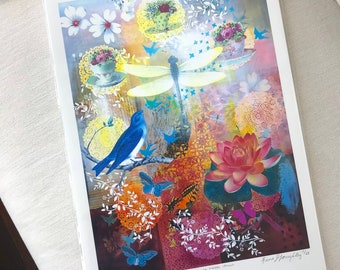 """Fena's archival signed print of original painting """"Believe in Happiness"""" 13 x 19"""""""