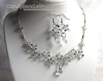Swarovski Necklace and Earrings, Silver Metalic Flower Swarovski Crystal Silver Necklace and Matching Earrings by CandyBead
